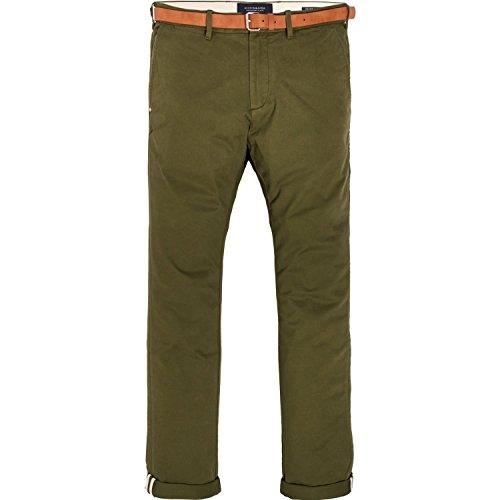 Scotch & Soda Herren Hose Stuart-Regular Slim Fit Chino in Peached Twill with Belt Military Green