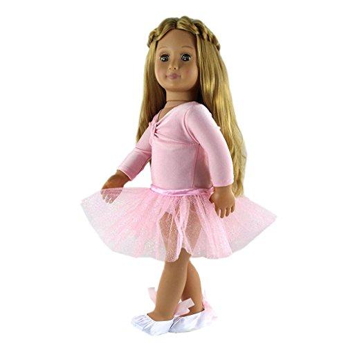 Gazechimp Skinny Ballett Tanz Anzug Rock & Top & Schuhe Set für 18 Zoll Mädchen Puppe Zubehör (Damen-baby-puppe Tops Damen)