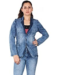 FCK-3 Women's Cloud Wash Silky Stretch Denim Jacket with Long Sleeves