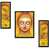 SAF DIWALI GIFT UV Textured Buddha Print Framed Painting Set Of 3 For Home Decoration – Size 35 X 2 X 50 Cm