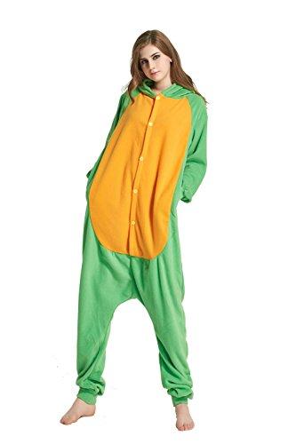 URVIP Erwachsene Unisex Jumpsuit Tier Cartoon Fasching Halloween Pyjama Kostüm Onesie Fleece-Overall Schlafanzug Schildkröte Small