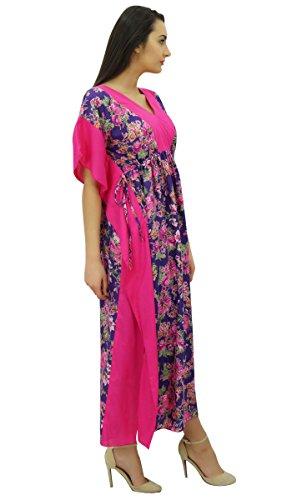 Bimba femmes coton caftan longue pannel kimono caftan taille coulissée de nuit magenta et violet