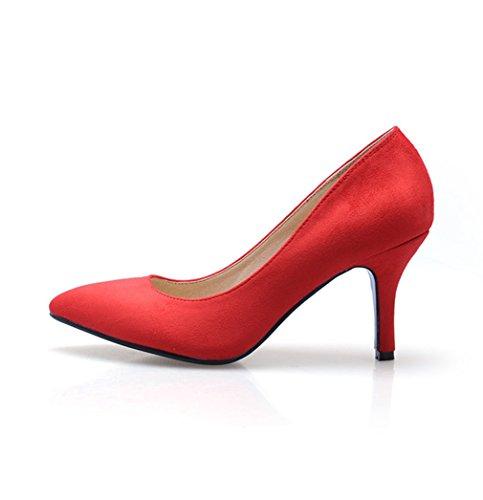 Damen Pumps Slip on Spitz Zehen Nubukleder Einfach Klassisch Atmungsaktiv Strapazierfähig OL Bequem Büro Freizeit Stiletto Rot