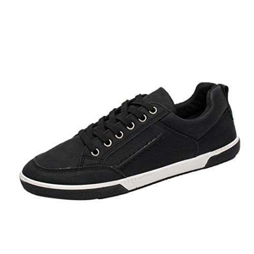 7b92a5ee417965 Baskets en Cuir Homme,Hiver Chaussures Bateau Lacets Casual Mocassins Noir  Mode Overdose Running Sneakers