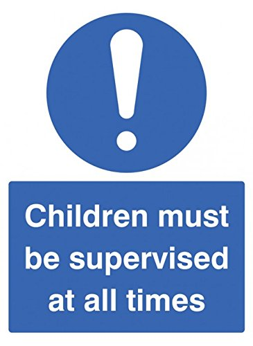 Caledonia Signs 25465E Children Must be Supervised at All Times Sign, Self Adhesive Vinyl, 200 mm x 150 mm