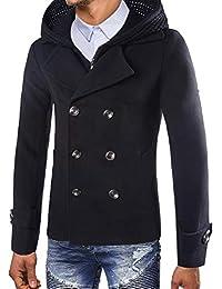 Hombres Otoño Invierno Doble Fila Botón Abrigo con Capucha Top Blusa Chaqueta Hombres Jacket Outerwear Tops