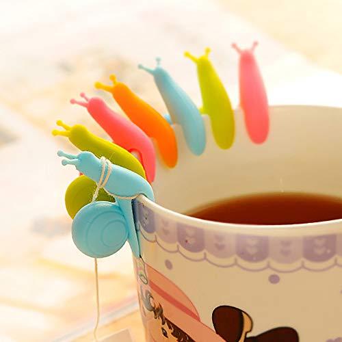 TianranRT 10pcs niedlich Schnecke Form Silikon Tee Tasche Halter Tasse Becher Süßigkeiten Farben Geschenk Set - Slicer Knoblauch-peeler