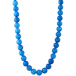 Kastiya Jewels Blue Color Jade Quartz Semi Precious Gemstone Beads Necklace Jewellery For Women