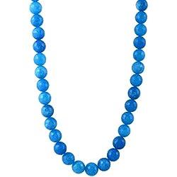 Kastiya Jewels Blue Color Jade Quartz Semi Precious Gemstone Beads Necklace Jewellery For Women