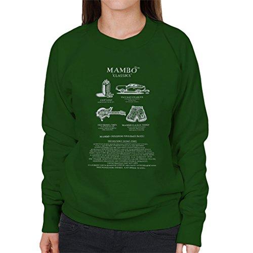 Mambo Classics The Short Story White Text Women's Sweatshirt Bottle Green