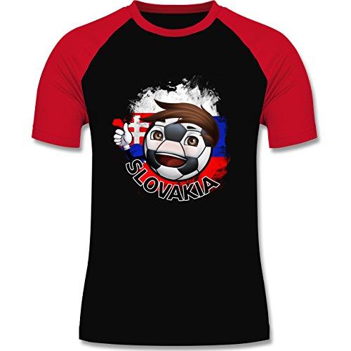 EM 2016 - Frankreich - Fußballjunge Slowakei - zweifarbiges Baseballshirt für Männer Schwarz/Rot