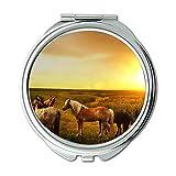 Miroir, miroir compact, atmosphère d'animaux d'agriculture, miroir de poche, miroir portable