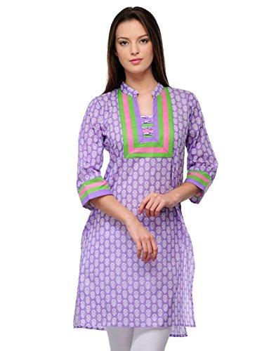 Cenizas Women Cotton Straight Kurta (Kurtis/2105/Prpl/M _Purple _M)