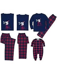 Zhhlaixing Respirable Pijama Navidad Trajes a Juego con la Familia - Cuello Redondo Top y Pantalones Largos Mamá Papá y Yo Azul, Rojo