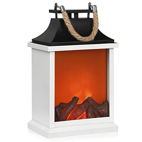 SONGMICS Nachtlicht, LED Lampe mit künstlichen flackernden Flammen, in Kaminoptik, fürs Wohnzimmer, Feierlichkeiten, weiß, schwarz FSL30WB