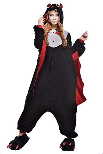 URVIP Erwachsene Unisex Jumpsuit Tier Cartoon Fasching Halloween Pyjama Kostüm Onesie Fleece-Overall Schlafanzug Fledermaus Large