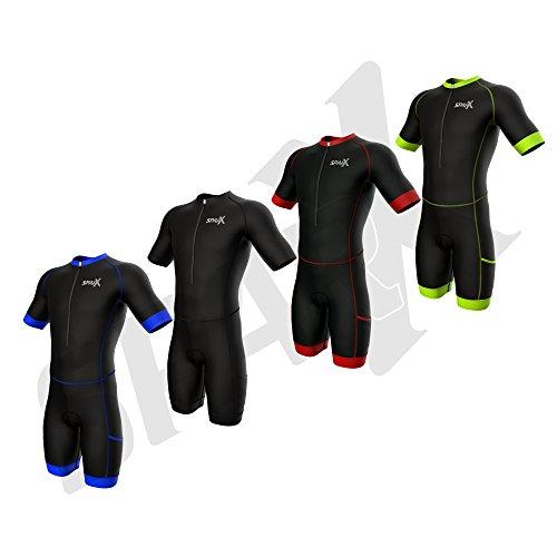 Sparx Herren Wettkampfanzug Triathlon-Rennanzug, kurzärmlig, Aero-Tri-Anzug, Triathlon-Anzug, Triathlon-Rennanzug, Skinanzug, Trisuit, Swim-Bike-Run, Herren, Black/Neon Green, XX-Large