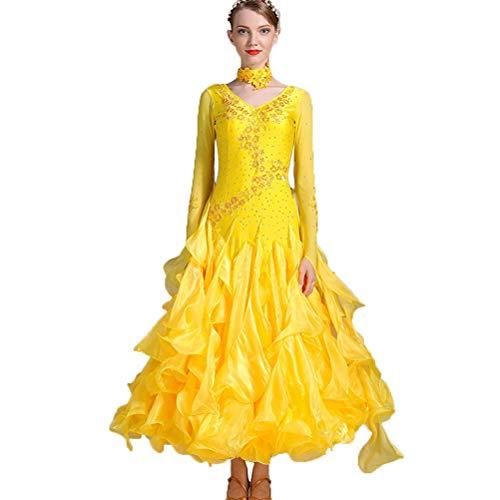 Moderner Tanzrock für Frauen Performance Kostüme Großer Schaukel Tanzkleider Strass Walzer Wettkampfanzüge Standard Tanzkleidung, XL (Jazz Tanz Kostüm Muster)