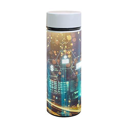 Ahomy Edelstahl Vakuum-Isolierflasche Internet City Wasserflasche Reise Kaffee Becher 350 ml