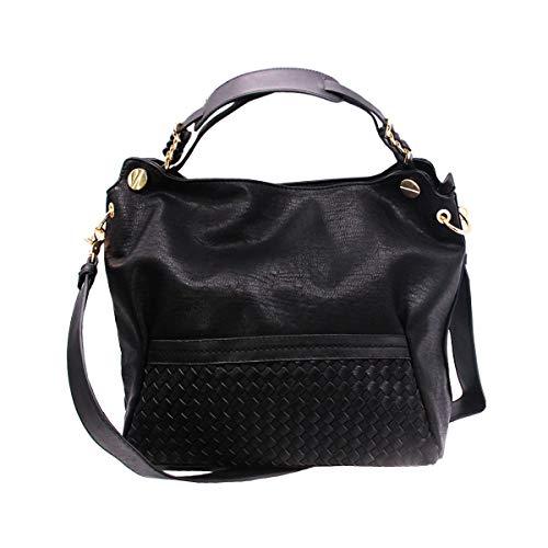 AlwaySky Women Handbag, PU Leather Hobo Bag, Weaving Top Handle Bag Shoulder Crossbody Satchel Tote Purse, Black - Handle Satchel Bag