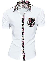 Sourcingmap Allegra K Men Short Sleeves Floral Prints Shirt