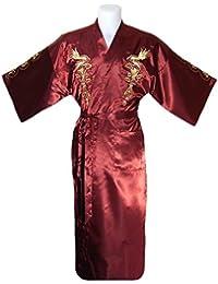 kimono japonés para los hombres, bata elegante estilo chino : negro, azul o borgoña