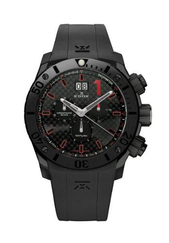 Edox Men's 10020 37N NRO Class 1 Chronograph Black PVD Black Dial Watch