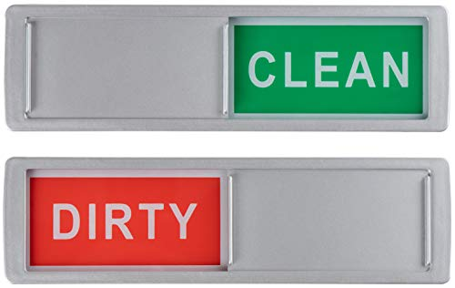Geschirrspüler Clean Dirty Sign - 2er Pack Magnetanzeige und selbstklebende Befestigungsaufkleber, manueller Schieber zum Ändern des Status, 17,8 x 5,1 cm -