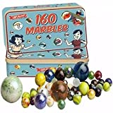 160 Traditional Assorted Colorful Glass Marbles In a Classic Tin Kids Game By Guilty Gadgets