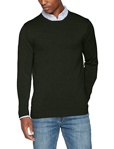SELECTED HOMME Herren Pullover Shdtower Cot/Silk Crew Neck Noos, Grün (Forest Night), Large