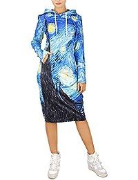 f01ae08a107e Cfanny da Donna Casual a Maniche Lunghe con Cappuccio e Tasca a Canguro  Felpa Vestito