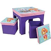 Preisvergleich für Unbekannt Fun House pat' Patrouille Mädchen Tisch mit 2Barhocker Faltbare Aufbewahrungsbox für Kinder, MDF/Vlies, 52x 52x 15cm