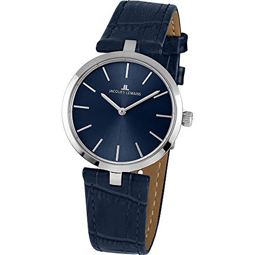 Jacques Lemans Women's Milano 34mm Blue Leather Band Quartz Watch 1-2024C
