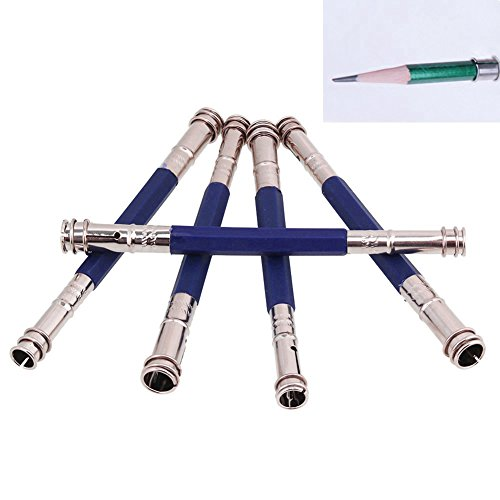 hrph-5pcs-dispositif-dattelage-double-stylo-pencil-sketch-lengthener-fournitures-extension-rod-carbo