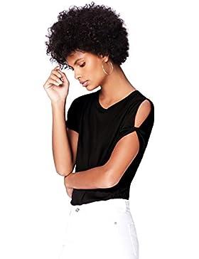 FIND Camiseta Manga Corta con Hombros al Descubierto para Mujer