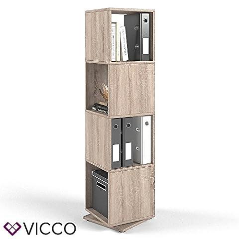 VICCO XXL Drehregal Regal Sonoma Eiche 145cm hoch Ordnerregal Standregal Bücherregal Büro
