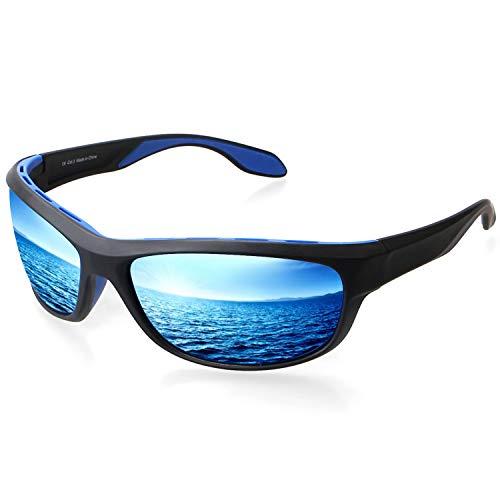 Elegear Polarized Sports Sonnenbrillen Unisex 2018 Anti UV Rays Rahmen TR90 Spiegelglas mit REVO Anti-Ölbrille Mann und Frau Radfahren Laufendes Auto MTB Motorrad Mountain Ski Golf- Blaue Brille