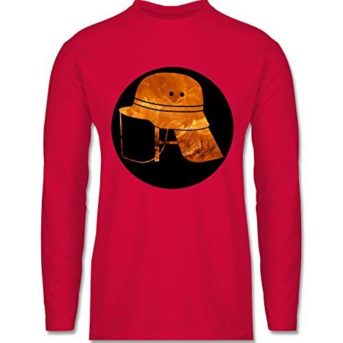 Feuerwehr - Feuerwehr Helm Flammen - Longsleeve / langärmeliges T-Shirt für Herren Rot