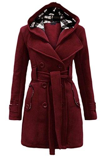 Les Femmes De Style Britannique Hiver Chaud Manteau D'extérieur De La Tenue De Ceinture Zipper Pull Wined
