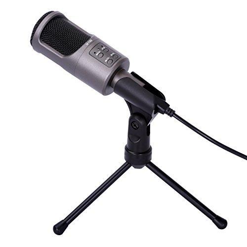 Microfono de Condensador, CAHAYA Microfono de grabacion para radio broadcasting, gaming, videochat, karaoke, grabacion de audio, etc. (negro)