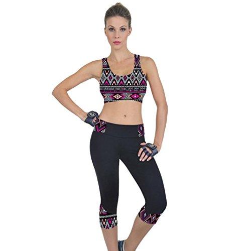 Leggings SANFASHION Damen Fitness Pants Hohe Taille Yoga Sporthose Gedruckt Stretch Cropped Hose