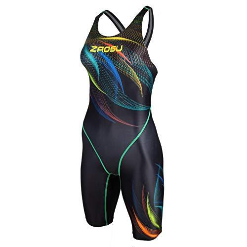 ZAOSU Damen & Mädchen Wettkampf-Schwimmanzug Z-Feather Fire | Sport Badeanzug mit Bein, Fina Zulassung und Kompression, Größe:38