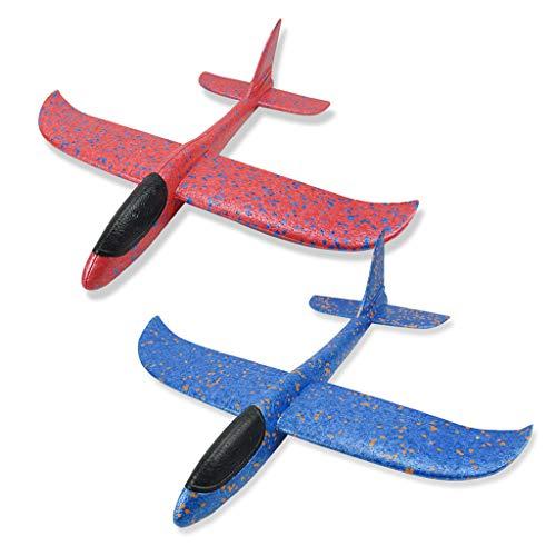 Vaycally Kid Handwerfen Flugzeuge Schaumwerfen Segelflugzeug Doppel Loch Gyro Stunt Anti-Drop DIY Modellflugzeug Spielen Lernspielzeug