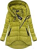 Yam Yam Fashion Damen Langjacken Asymmetrische Winterjacke Senf Kr-7150-Muszt Gelb S