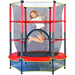 Cymbidy UK - Trampolines Trampoline Enfants Videur avec Filet De ClôTure, Exercice De Remise en Forme IntéRieure en Plein Air, Max Load 110lbs Noir et Rouge