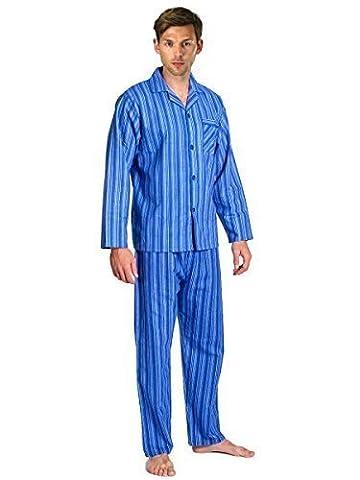 Mens Brushed Pure 100% Cotton Pyjamas Winter Warm Flannel Thermal M L XL XXL (XL, Sky Royal Stripes)