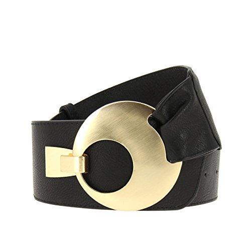 Fashiongen - Damen Taille Breiter Gürtel VANESSA - Schwarz (Golden), XL bis XXL/Hose 45 bis 55