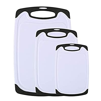 Vicloon Cutting Board Set, Plastic Chopping Board Set of 3 with Dishwasher Safe,Juice Groove,Hanging Hole