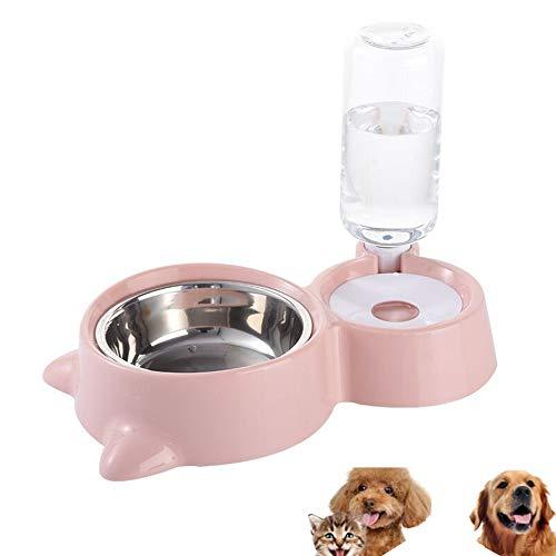HappyCat Wasser- und Futternapf für kleine Haustiere, Futternapf und automatischer Wasserspender mit automatischer Wasserflasche für kleine oder mittelgroße Hunde und Katzen, Rose