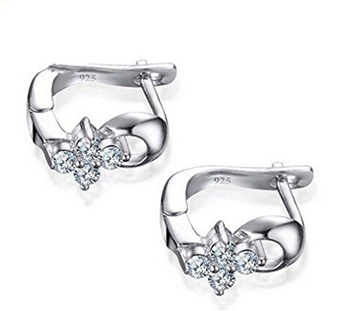 Summens Creolen Silber 925 Klein Damen 925 Sterling Silber Ohrringe Mädchen Blumen mit Zirkonia Polierte Hypoallergen Ohrschmuck